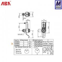 ABA Combination Cam Lock 10744003 Sizes