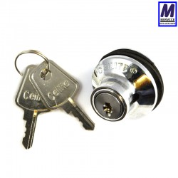 Ceilite push lock with flat keys.
